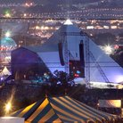Glastonbury Pyramid stage at night