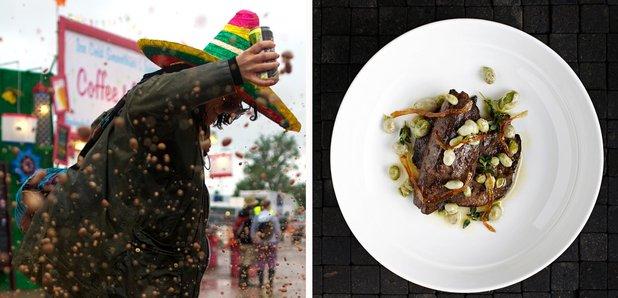 Glastonbury girl in mud and restaurant foo splitsc