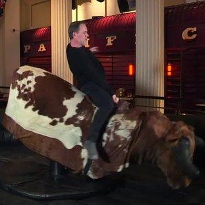 Chris Moyles on the rodeo bull