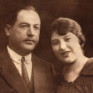 Stock old photo image couple pose for portrait