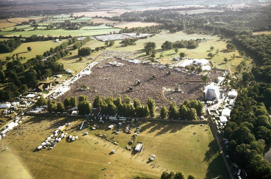 Aerial shot of Oasis at Knebworth