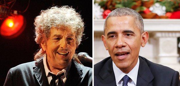 Bob Dylan and Barack Obama split screen